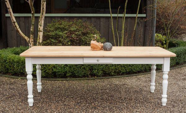 Esstisch Landhausstil Modell - M03 - weiß / natur